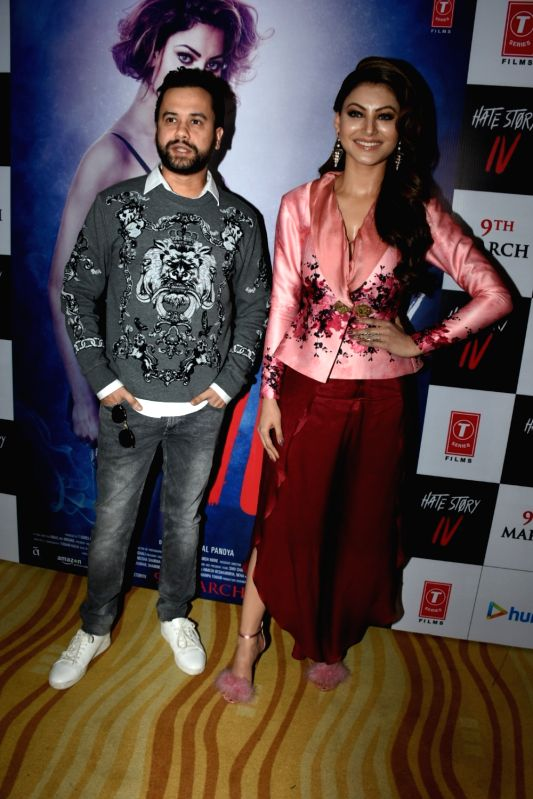 "Director Vishal Pandya and actress Urvashi Rautela at the song launch of their upcoming film ""Hate Story IV"" in Mumbai on Jan 31, 2018. - Urvashi Rautela"