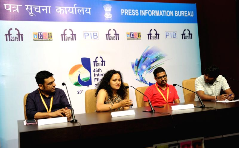 Directors, Kaushik Ganguly, Bash Mohammed and the Film Sound Designer, Resul Pookutty at a press conference, during the 46th International Film Festival of India (IFFI-2015), in Panaji, Goa ...