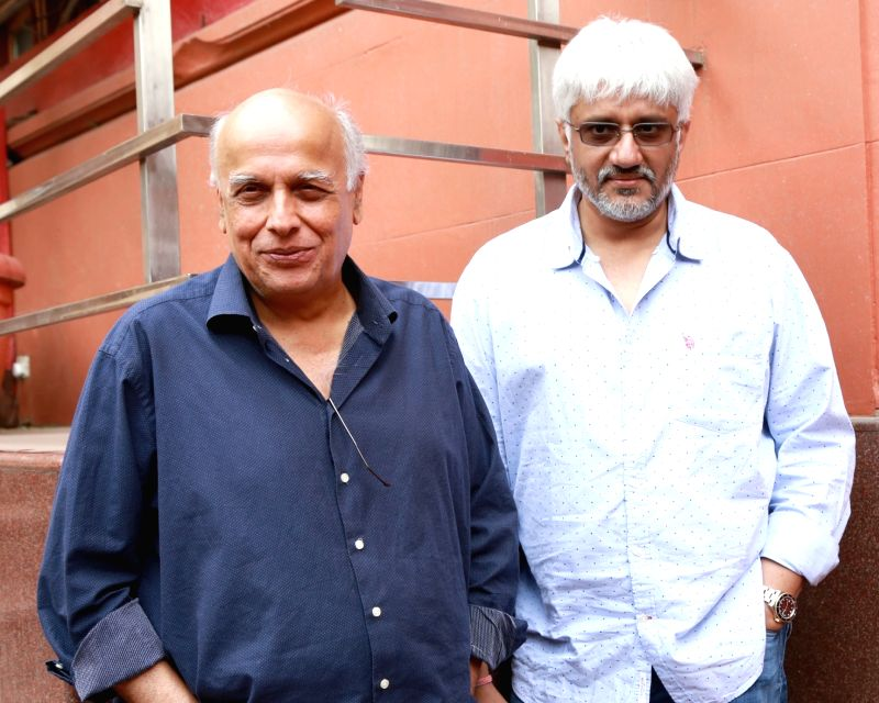 "Directors Mahesh Bhatt and Vikram Bhatt during a press conference to promote their upcoming film ""Love Games"" in New Delhi on April 5, 2016."