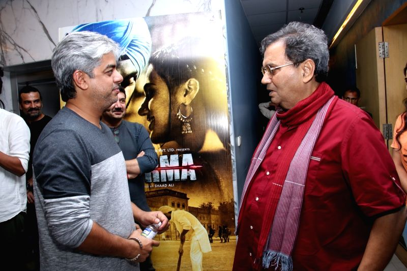 "Directors Shaad Ali and Subhash Ghai at the special screening of upcoming film ""Soorma"" in Mumbai on July 11, 2018."