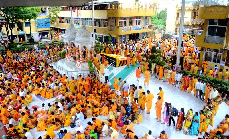 Disciples throng the Shanti Kunj Ashram on the occasion of Guru Purnima, in Haridwar, on July 27, 2018.
