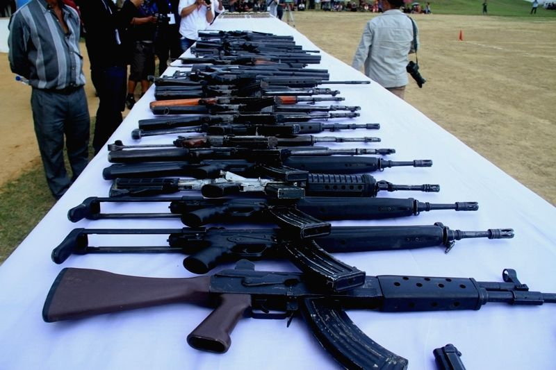 Display of arms deposited by the 114 surrendered terrorists of Hmar People's Convention-Democratic (HPC-D).