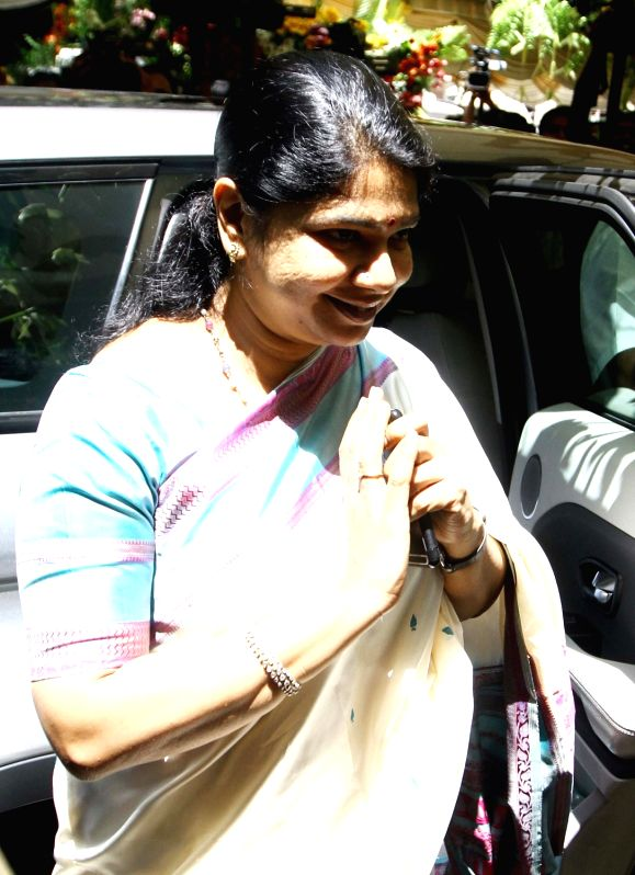 DMK chief Karunanidhi's daughter, Kanimozhi arrives to attend his birthday celebrations in Chennai on June 3, 2017.