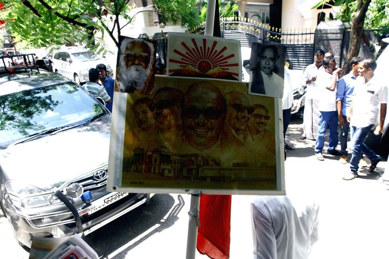 DMK chief Karunanidhi's poster at the venue of his birthday celebrations in Chennai on June 3, 2017.