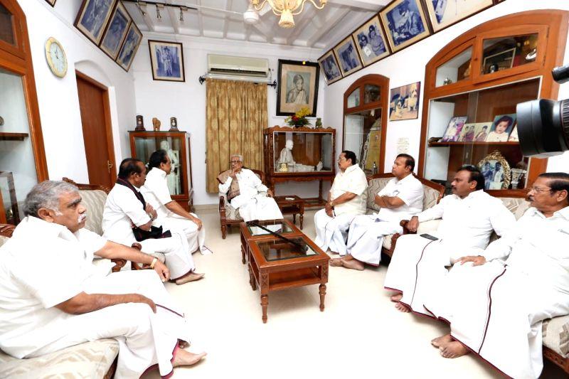 DMK general secretary K. Anbazhagan, party leaders Andimuthu Raja, Durai Murugan, M.K. Stalin with other dignitaries at DMK President M. Karunanidhi's Gopalapuram residence, in Chennai, on ...