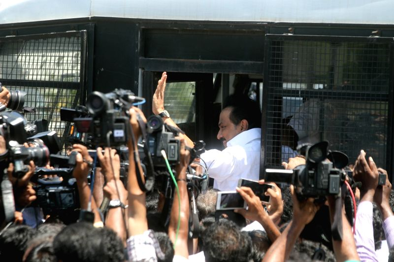 DMK leader M. K. Stalin being taken away by police in Chennai on June 13, 2017. DMK legislators were sent out of the Tamil Nadu assembly on Wednesday after they demanded a discussion on a ... - K. Palaniswami