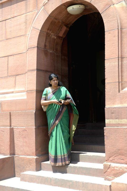 DMK MP Kanimozhi at Parliament in New Delhi, on Aug 4, 2016.