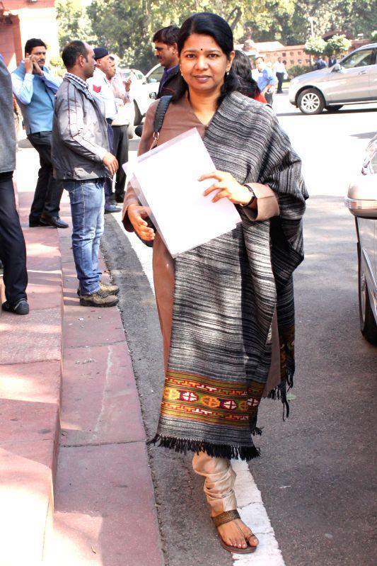 DMK MP Kanimozhi at the Parliament premises in New Delhi, on Dec 1, 2014.