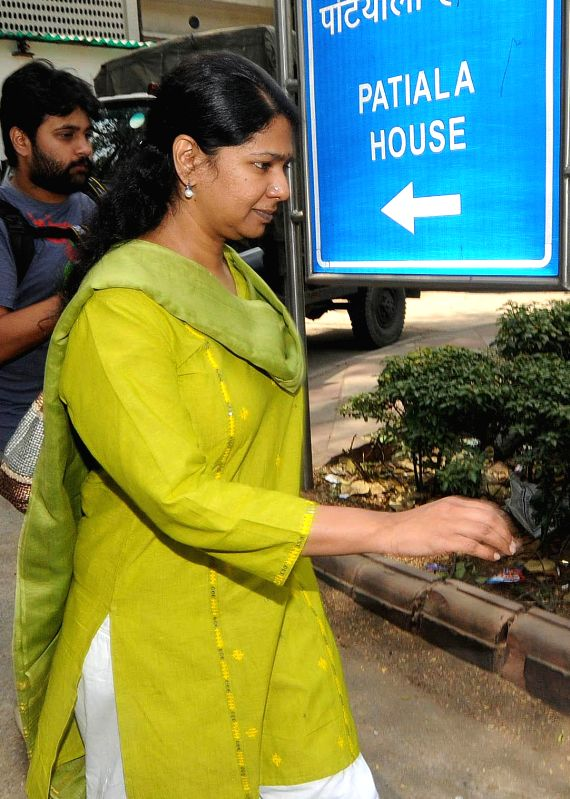 DMK parliamentarian Kanimozhi one of the accused in 2G spectrum allocation case, arrives at Patiala House Court in New Delhi on May 5, 2014.
