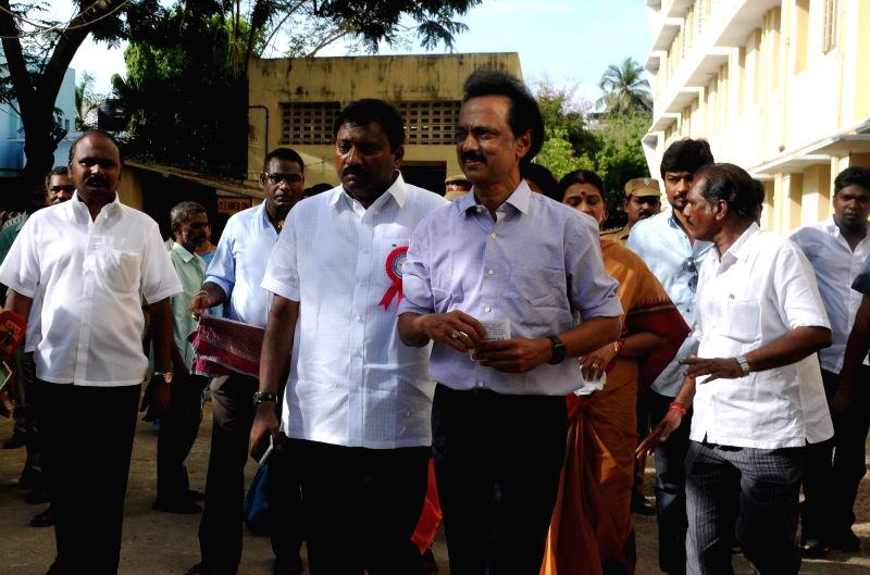 DMK treasurer M K Stalin arrives to cast her vote during Tamil Nadu Assembly polls in Chennai, on May 16, 2016.