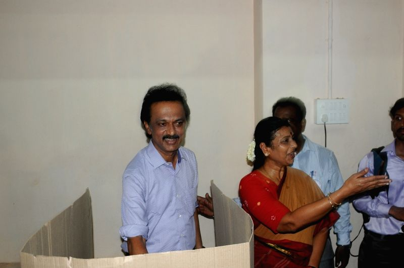 DMK treasurer M K Stalin casts his vote during Tamil Nadu Assembly polls in Chennai, on May 16, 2016.