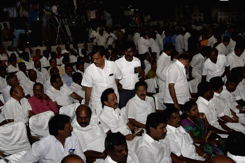 DMK Treasurer MK Stalin during the AIADMK general secretary Jayalalithaa swearing in ceremony as Tamil Nadu chief minister at Madras University in Chennai, on May 23, 2016.
