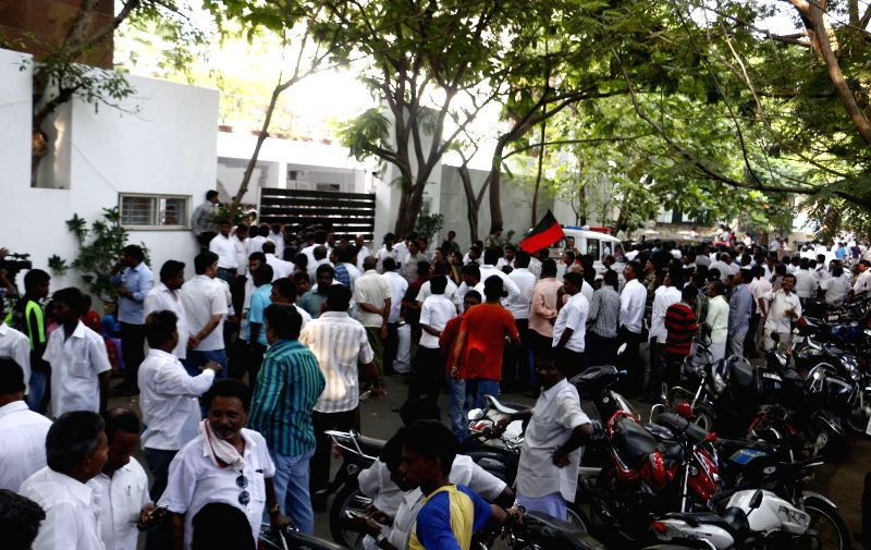 DMK workers demonstrate to appeal party leader MK Stalin to rethink about his decision of resigning from all party posts in Chennai on May 18, 2014. Stalin had to quit owning moral responsibility for