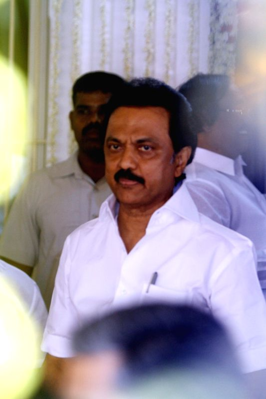 DMK working president M.K. Stalin during birthday celebrations of his father and party chief Karunanidhi in Chennai on June 3, 2017.