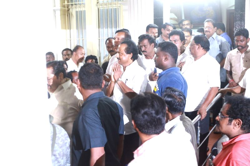 DMK Working President MK Stalin at his Gopalapuram residence where doctors are  treating his father and DMK president M. Karunanidhi for fever due to a urinary tract infection, in Chennai ...