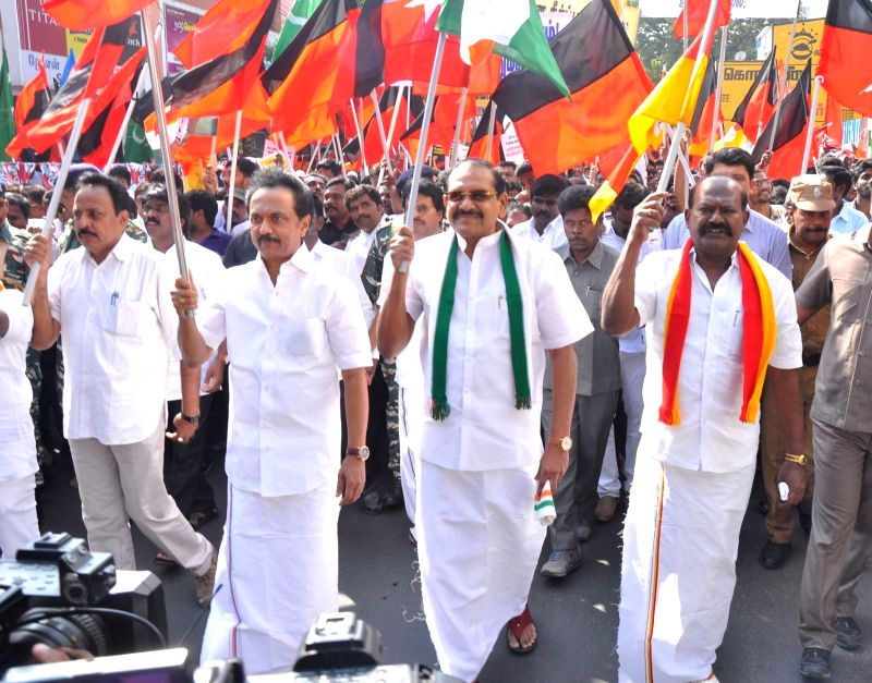 DMK Working President MK Stalin leads a protest against hike in bus fares in Chennai on Jan 29, 2018.