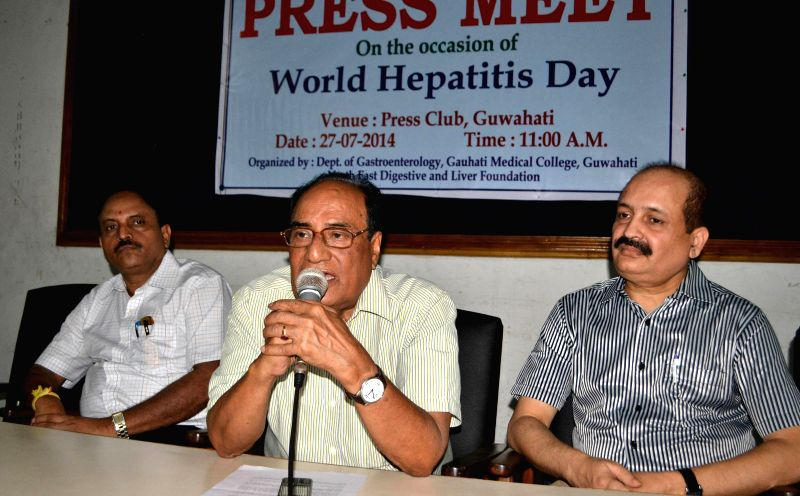 Doctor Dr. N.N. Barman addresses a press conference organised by Dept. of Gastroenterology, Gauhati Medical College on World Hepatitis Day at Guwahati press club on July 27, 2014.