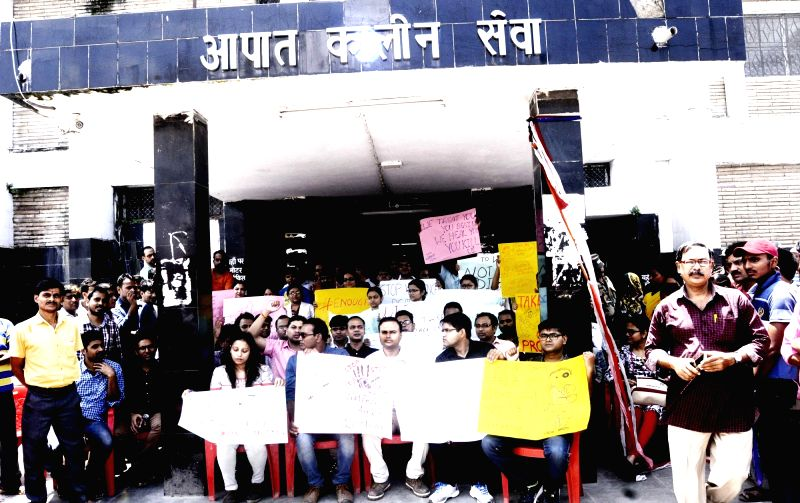 Doctors stage a demonstration against increasing incidents of assault on doctors; in Patna on Aug 8, 2018.