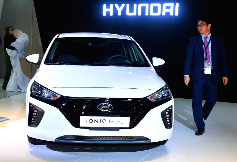 DOHA, April 19, 2017 - A Hyundai IONIQ Hybrid is displayed during the Qatar Motor Show 2017 at the Doha Exhibition and Convention Center in Doha, Capital of Qatar, April 18, 2017. The five days of ...