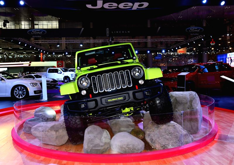 DOHA, April 19, 2017 - The Jeep Wrangler Rubicon is displayed during the Qatar Motor Show 2017 at the Doha Exhibition and Convention Center in Doha, Capital of Qatar, April 18, 2017. The five days of ...