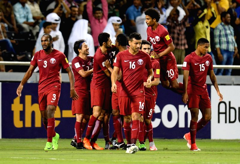 DOHA, June 14, 2017 - Players of Qatar celebrate after scoring the first goal during their 2018 FIFA World Cup qualification soccer match against South Korea at the Jassim Bin Hamad Stadium in Doha, ...