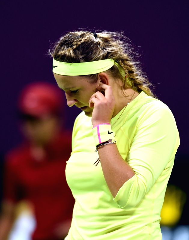 Victoria Azarenka of Belarus reacts during the final of the women's singles against Lucie Safarova of the Czech Republic on Qatar Open tennis tournament in Doha on ...