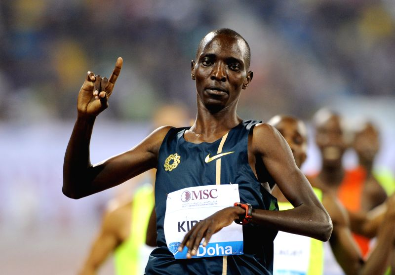 Asbel Kiprop of Kenya celebrates after winning the men's 1500 Metres  final at the IAAF Diamond League in Doha, capital of Qatar, May 9, 2014. Kiprop claimed the title .