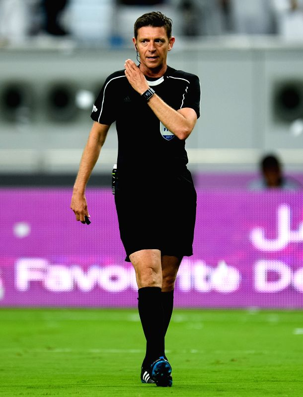 DOHA, May 20, 2017 - Italian referee Gianluca Rocchi reacts during the Qatar Emir Cup Final soccer match between Al-Sadd and Al-Rayyan at the Khalifa International Stadium in Doha, capital of Qatar, ...