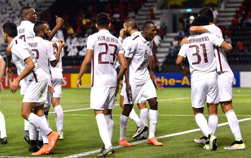 DOHA, May 26, 2016 - Qatar's El-Jaish players celebrate after the first goal against Qatar's Lekhwiya during the AFC Asian Champions League Round 16 match at the Jassim Bin Hamad stadium in Doha, ...
