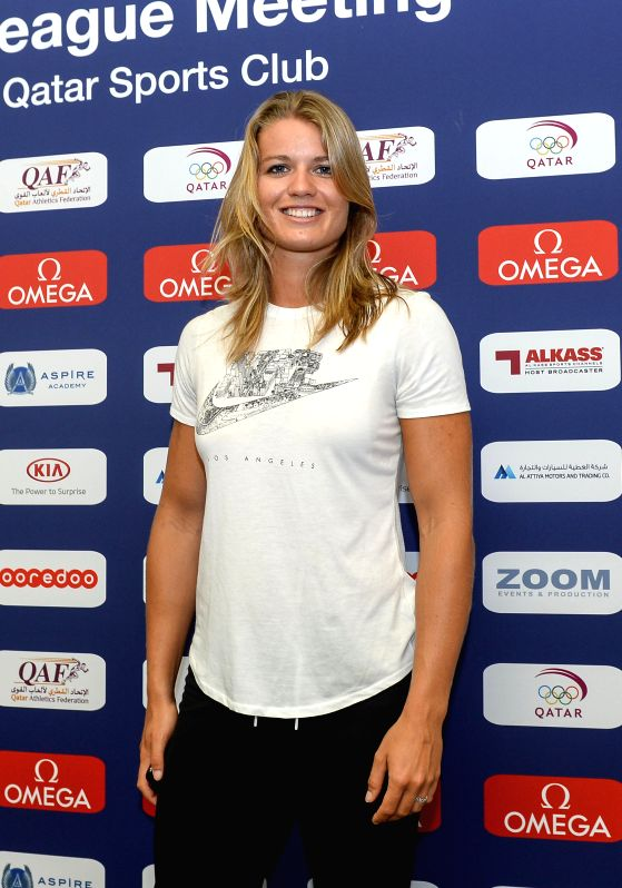 DOHA, May 4, 2017 - Dafne Schippers of the Netherlands poses for pictures after a press conference for the 2017 IAAF Diamond League in Doha, capital of Qatar, May 4, 2017. The event will kick off on ...