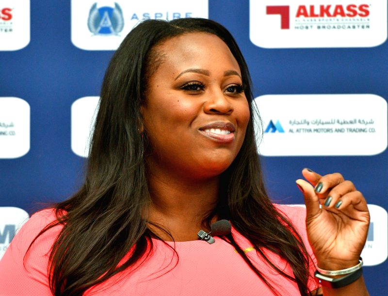 DOHA, May 4, 2017 - Michelle Carter of the US speaks during a press conference for the 2017 IAAF Diamond League in Doha, capital of Qatar, May 4, 2017. The event will kick off on May 5.