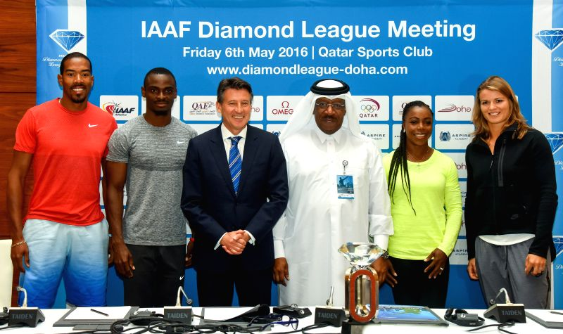 DOHA, May 5, 2016 - Christian Taylor of the United States, Femi Ogunode of Qatar, President of the International Association of Athletics Federation (IAAF) Sebastian Coe, Qatar Athletics Federation ... - Campbell