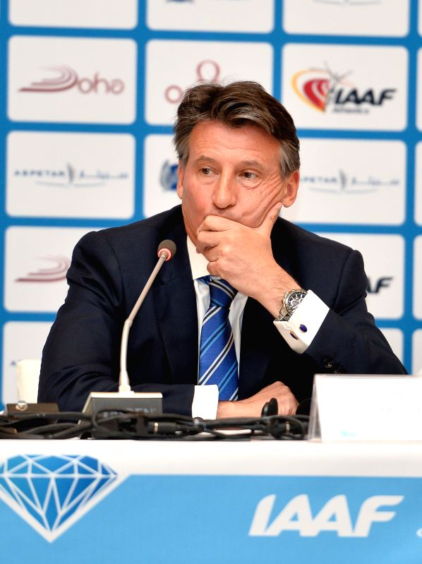DOHA, May 5, 2016 - President of the International Association of Athletics Federation (IAAF) Sebastian Coe attends the press conference for the 2016 IAAF Diamond League in Doha, capital of Qatar, ...