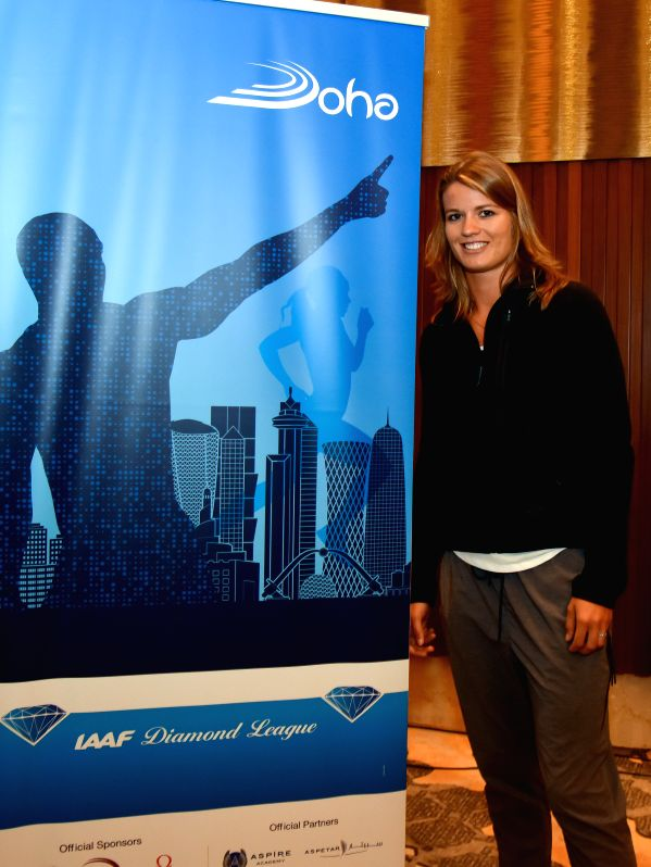DOHA, May 5, 2016 - The Netherlands' Dafne Schippers poses for pictures after the press conference for the 2016 IAAF Diamond League in Doha, capital of Qatar, May 5, 2016.