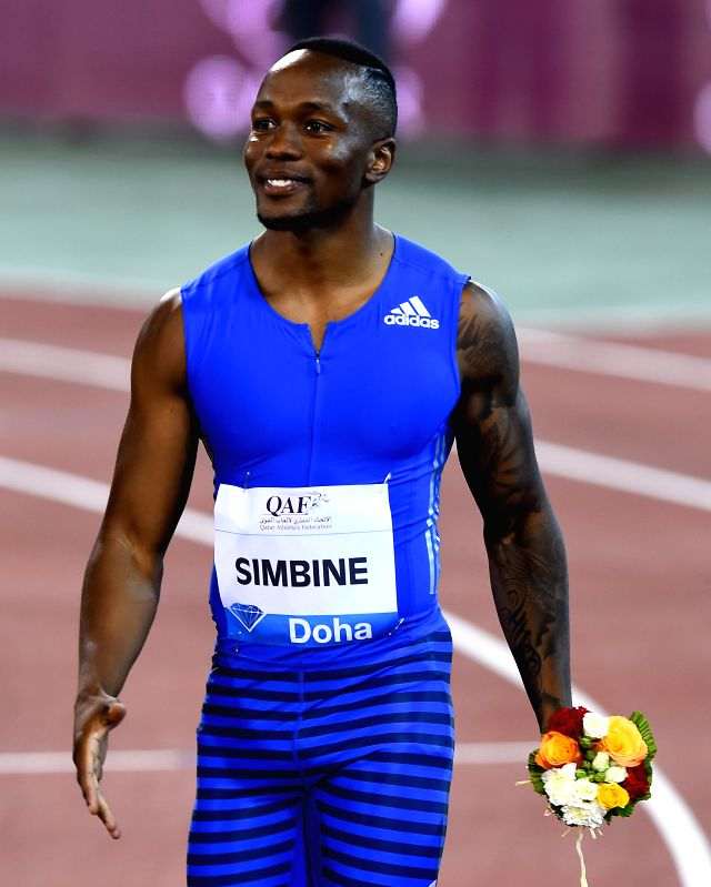 DOHA, May 6, 2017 - Akani Simbine of South Africa reacts after winning the men's 100m final of 2017 Doha IAAF Diamond League in Doha, capital of Qatar, May 5, 2017. Akani Simbine claimed the title ...