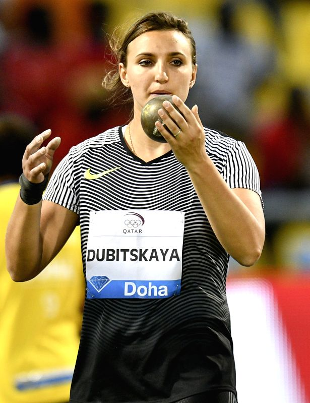 DOHA, May 6, 2017 - Aliona Dubitskaya of Belarus competes during the women's shot put competition of 2017 Doha IAAF Diamond League in Doha, capital of Qatar, May 5, 2017. Aliona Dubitskaya took the ...