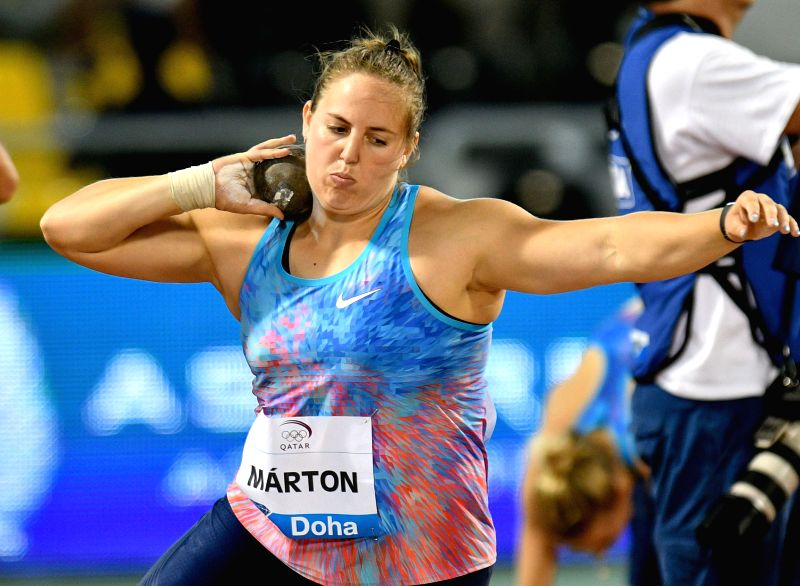 DOHA, May 6, 2017 - Anita Marton of Hungary competes during the women's shot put competition of 2017 Doha IAAF Diamond League in Doha, capital of Qatar, May 5, 2017. Anita Marton took the second ...