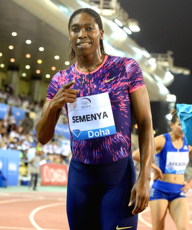 DOHA, May 6, 2017 - Caster Semenya of South Africa reacts after winning the women's 800m final of 2017 Doha IAAF Diamond League in Doha, capital of Qatar, May 5, 2017. Caster Semenya claimed the ...