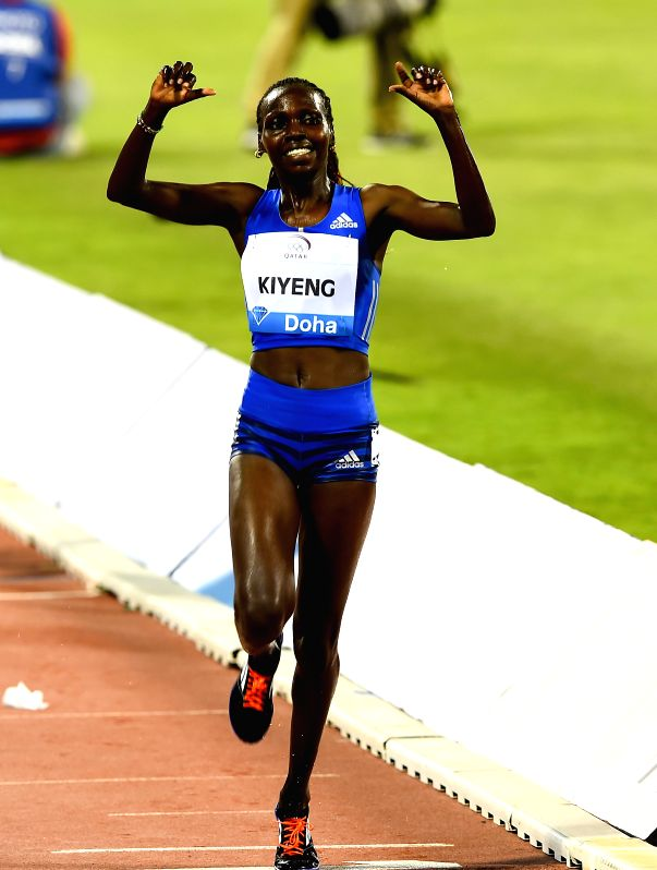 DOHA, May 6, 2017 - Hyvin Kiyeng Jepkemoi of Kenya celebrates after winning the women's 3000m steeplechase final of 2017 Doha IAAF Diamond League in Doha, capital of Qatar, May 5, 2017. Hyvin Kiyeng ...