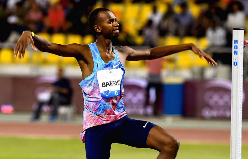 DOHA, May 6, 2017 - Mutaz Essa Barshim of Qatar celebrates after a successful attempt during the men's high jump final of 2017 Doha IAAF Diamond League in Doha, capital of Qatar, May 5, 2017. Mutaz ...