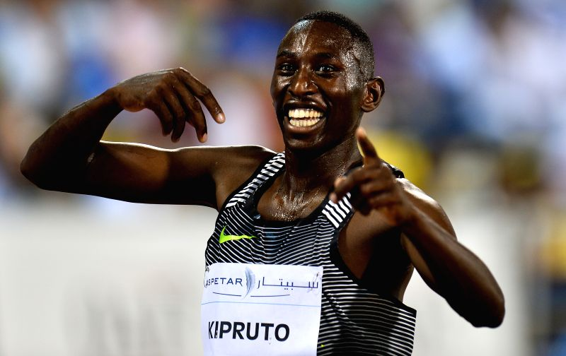 DOHA, May 7, 2016 - Conseslus Kipruto of Kenya celebrates after winning the men's 3,000m steeplechase race during the IAAF Diamond League in Doha, capital of Qatar, May 6, 2016. Conseslus Kipruto ...