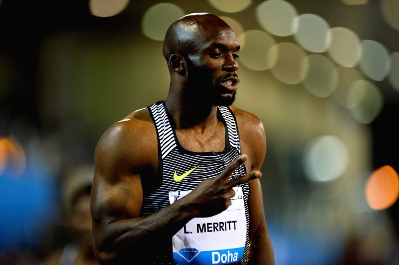 DOHA, May 7, 2016 - Lashawn Merritt of the United States reacts after winning the men's 400m race during the IAAF Diamond League in Doha, capital of Qatar, May 6, 2016. Lashawn Merritt claimed the ...