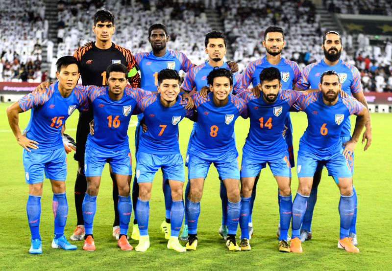 DOHA, Sept. 11, 2019 (Xinhua) -- Players of India pose before the FIFA World Cup Qatar 2022 and AFC Asian Cup China 2023 Preliminary Joint Qualification second round Group E football match between Qatar and India in Doha, Qatar, on Sept. 10, 2019. (P