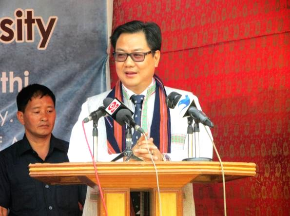 The Union Minister of State for Home Affairs Kiren Rijiju addresses at the inauguration of the Arunachal Pradesh Panorama Festival for Diversity, at Rajiv Gandhi University, in Doimukh, ... - Rajiv Gandhi University