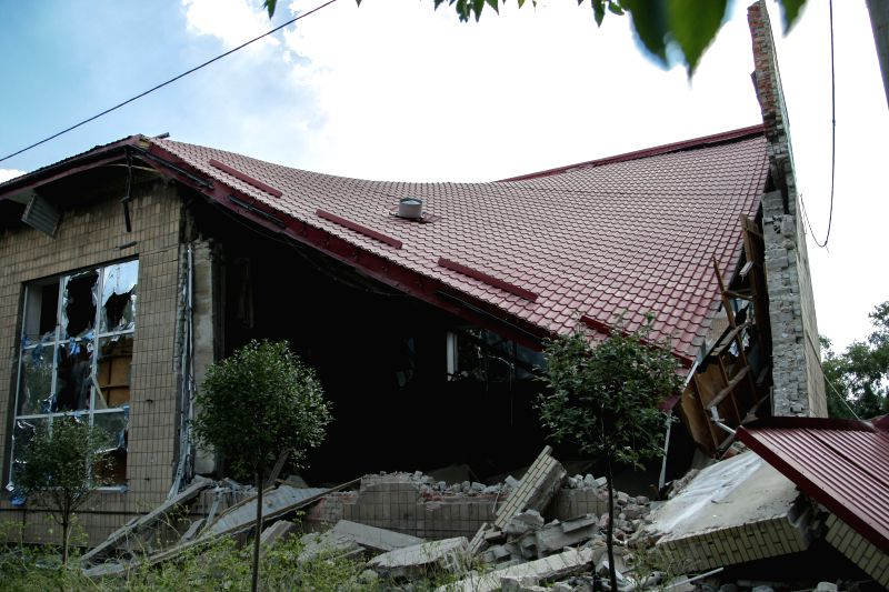 Photo taken on Aug. 21, 2014 shows the Donetsk Regional Museum of Local History which was shelled in Donetsk, Ukraine. An artillery attack destroyed the roof and ...
