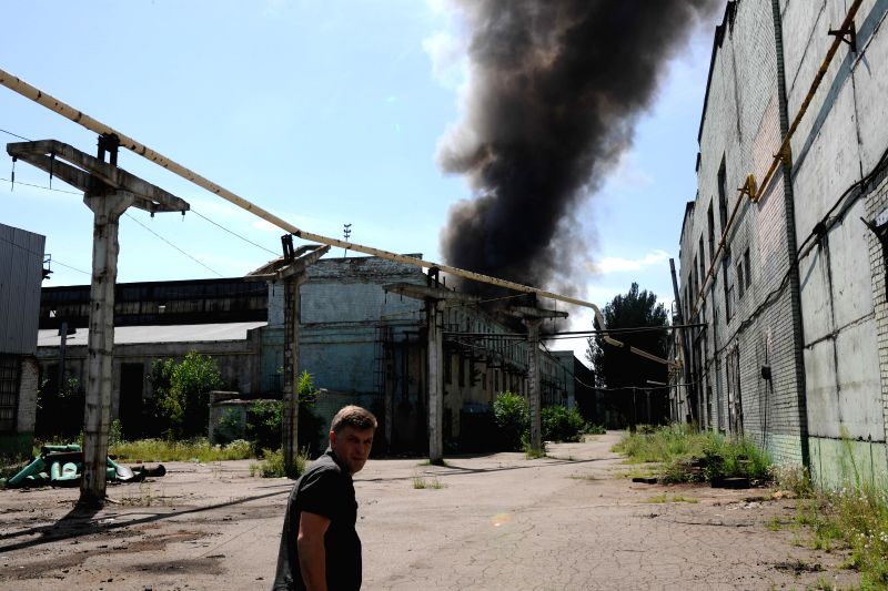A damaged deserted factory is seen near the train station in Donetsk, east Ukraine, July 21, 2014. At least three people were killed as heavy fighting erupted in ...