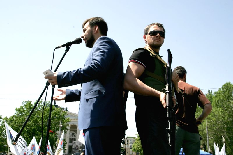 "Leader of the self-proclaimed ""Donetsk People's Republic"" Denis Pushilin gives a speach during the rally in Donetsk, May 18, 2014, demonding to open the ..."