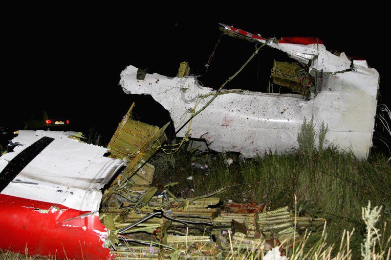 DONETSK (UKRAINE), July 18, 2014 Photo taken on July 17, 2014 shows the debris at the crash site of a passenger plane near the city of Shakhtarsk in Ukraine's Donetsk region. The crash of