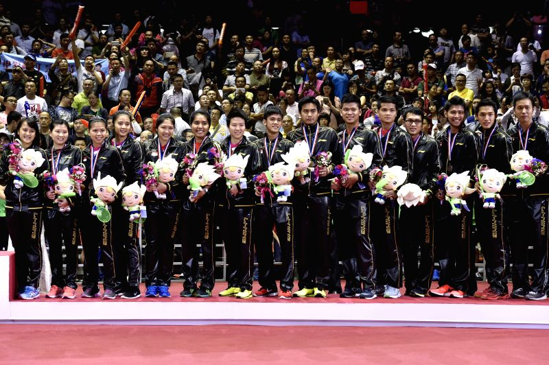 Bronze medallists, Players of Indonisia celebrate during the awarding ceremony after the final of 2015 Sudirman Cup BWF World Mixed Team Championships in Dongguan, ...