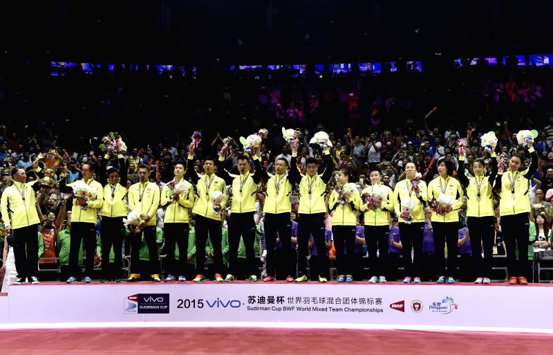 Gold medallists, Players of China celebrate during the awarding ceremony after the final against Japan at 2015 Sudirman Cup BWF World Mixed Team Championships in ...